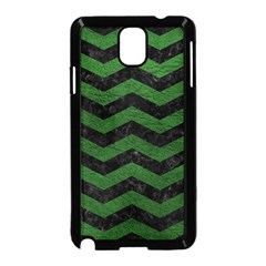 CHEVRON3 BLACK MARBLE & GREEN LEATHER Samsung Galaxy Note 3 Neo Hardshell Case (Black)