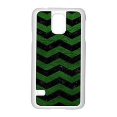 CHEVRON3 BLACK MARBLE & GREEN LEATHER Samsung Galaxy S5 Case (White)