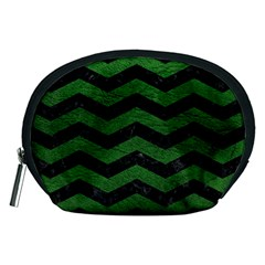 CHEVRON3 BLACK MARBLE & GREEN LEATHER Accessory Pouches (Medium)