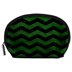 CHEVRON3 BLACK MARBLE & GREEN LEATHER Accessory Pouches (Large)