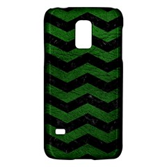 CHEVRON3 BLACK MARBLE & GREEN LEATHER Galaxy S5 Mini