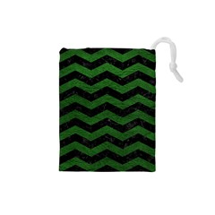 CHEVRON3 BLACK MARBLE & GREEN LEATHER Drawstring Pouches (Small)