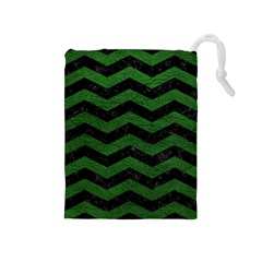 CHEVRON3 BLACK MARBLE & GREEN LEATHER Drawstring Pouches (Medium)