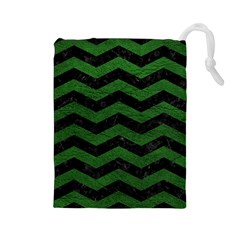 CHEVRON3 BLACK MARBLE & GREEN LEATHER Drawstring Pouches (Large)