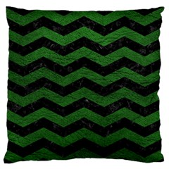 CHEVRON3 BLACK MARBLE & GREEN LEATHER Large Flano Cushion Case (One Side)