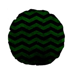 CHEVRON3 BLACK MARBLE & GREEN LEATHER Standard 15  Premium Flano Round Cushions