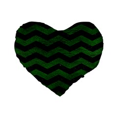CHEVRON3 BLACK MARBLE & GREEN LEATHER Standard 16  Premium Flano Heart Shape Cushions