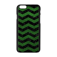 CHEVRON3 BLACK MARBLE & GREEN LEATHER Apple iPhone 6/6S Black Enamel Case