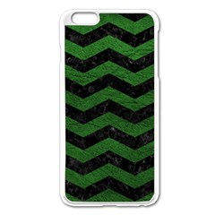 CHEVRON3 BLACK MARBLE & GREEN LEATHER Apple iPhone 6 Plus/6S Plus Enamel White Case