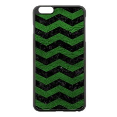 CHEVRON3 BLACK MARBLE & GREEN LEATHER Apple iPhone 6 Plus/6S Plus Black Enamel Case