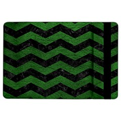 CHEVRON3 BLACK MARBLE & GREEN LEATHER iPad Air 2 Flip