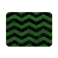 CHEVRON3 BLACK MARBLE & GREEN LEATHER Double Sided Flano Blanket (Mini)