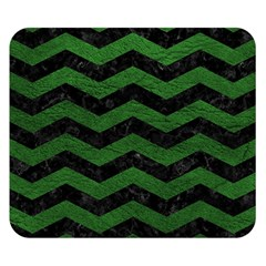CHEVRON3 BLACK MARBLE & GREEN LEATHER Double Sided Flano Blanket (Small)