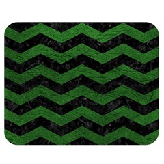 CHEVRON3 BLACK MARBLE & GREEN LEATHER Double Sided Flano Blanket (Medium)