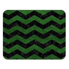 CHEVRON3 BLACK MARBLE & GREEN LEATHER Double Sided Flano Blanket (Large)