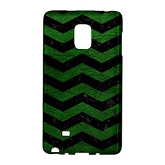 CHEVRON3 BLACK MARBLE & GREEN LEATHER Galaxy Note Edge
