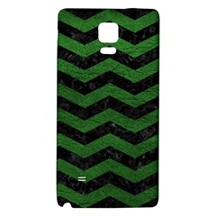 CHEVRON3 BLACK MARBLE & GREEN LEATHER Galaxy Note 4 Back Case
