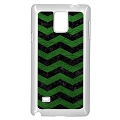 CHEVRON3 BLACK MARBLE & GREEN LEATHER Samsung Galaxy Note 4 Case (White)