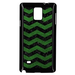 CHEVRON3 BLACK MARBLE & GREEN LEATHER Samsung Galaxy Note 4 Case (Black)