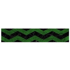 CHEVRON3 BLACK MARBLE & GREEN LEATHER Flano Scarf (Small)