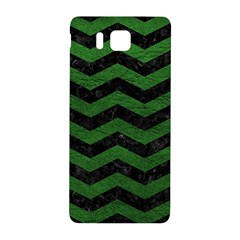 CHEVRON3 BLACK MARBLE & GREEN LEATHER Samsung Galaxy Alpha Hardshell Back Case