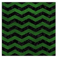 CHEVRON3 BLACK MARBLE & GREEN LEATHER Large Satin Scarf (Square)