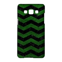 CHEVRON3 BLACK MARBLE & GREEN LEATHER Samsung Galaxy A5 Hardshell Case