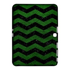 CHEVRON3 BLACK MARBLE & GREEN LEATHER Samsung Galaxy Tab 4 (10.1 ) Hardshell Case