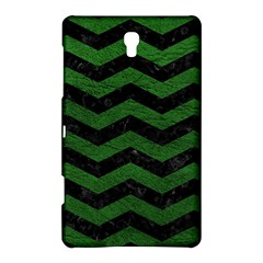 CHEVRON3 BLACK MARBLE & GREEN LEATHER Samsung Galaxy Tab S (8.4 ) Hardshell Case