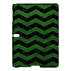 CHEVRON3 BLACK MARBLE & GREEN LEATHER Samsung Galaxy Tab S (10.5 ) Hardshell Case