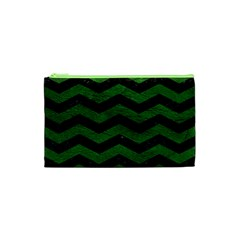 CHEVRON3 BLACK MARBLE & GREEN LEATHER Cosmetic Bag (XS)