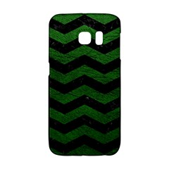 CHEVRON3 BLACK MARBLE & GREEN LEATHER Galaxy S6 Edge