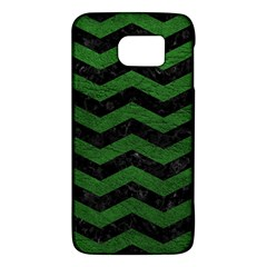 CHEVRON3 BLACK MARBLE & GREEN LEATHER Galaxy S6