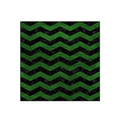 CHEVRON3 BLACK MARBLE & GREEN LEATHER Satin Bandana Scarf