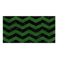 CHEVRON3 BLACK MARBLE & GREEN LEATHER Satin Shawl