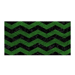 CHEVRON3 BLACK MARBLE & GREEN LEATHER Satin Wrap