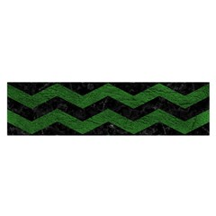CHEVRON3 BLACK MARBLE & GREEN LEATHER Satin Scarf (Oblong)