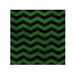CHEVRON3 BLACK MARBLE & GREEN LEATHER Small Satin Scarf (Square)