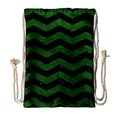 CHEVRON3 BLACK MARBLE & GREEN LEATHER Drawstring Bag (Large)