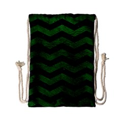 CHEVRON3 BLACK MARBLE & GREEN LEATHER Drawstring Bag (Small)