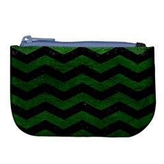 CHEVRON3 BLACK MARBLE & GREEN LEATHER Large Coin Purse