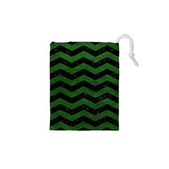 CHEVRON3 BLACK MARBLE & GREEN LEATHER Drawstring Pouches (XS)
