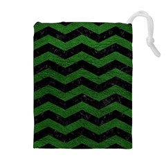CHEVRON3 BLACK MARBLE & GREEN LEATHER Drawstring Pouches (Extra Large)
