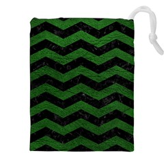 CHEVRON3 BLACK MARBLE & GREEN LEATHER Drawstring Pouches (XXL)