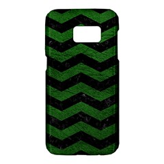 CHEVRON3 BLACK MARBLE & GREEN LEATHER Samsung Galaxy S7 Hardshell Case