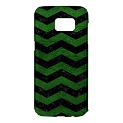 CHEVRON3 BLACK MARBLE & GREEN LEATHER Samsung Galaxy S7 Edge Hardshell Case