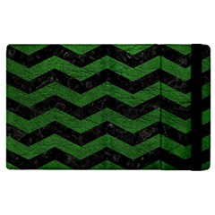 CHEVRON3 BLACK MARBLE & GREEN LEATHER Apple iPad Pro 12.9   Flip Case