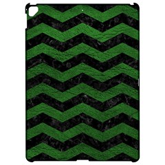 CHEVRON3 BLACK MARBLE & GREEN LEATHER Apple iPad Pro 12.9   Hardshell Case