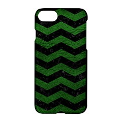 CHEVRON3 BLACK MARBLE & GREEN LEATHER Apple iPhone 7 Hardshell Case
