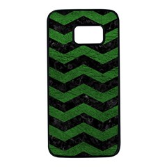 CHEVRON3 BLACK MARBLE & GREEN LEATHER Samsung Galaxy S7 Black Seamless Case